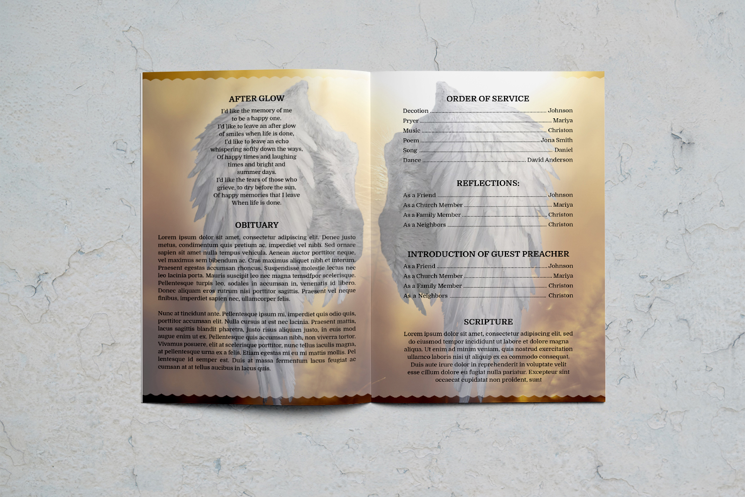 Angel Wing funeral program template example image 5