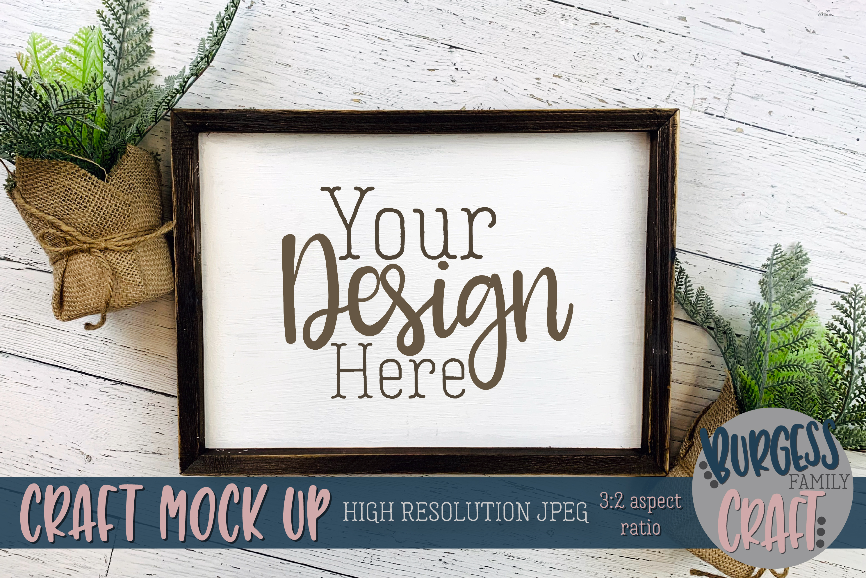 Wood sign plants III Craft mock up |High Res JPEG example image 1