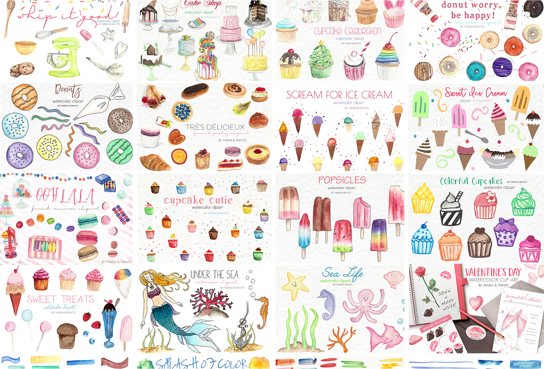 2,600 in 1 Watercolor Clip Art Bundle example image 26