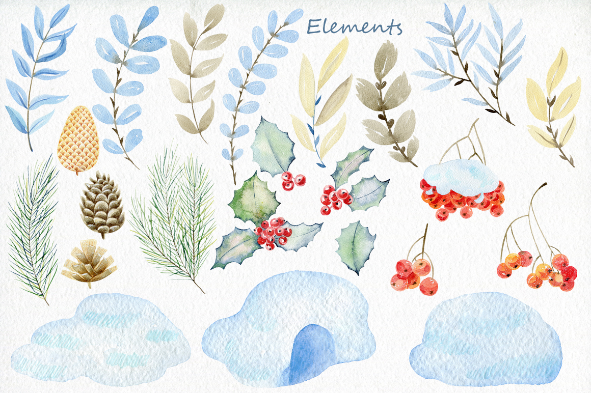 Winter Woodland. Watercolor set. example image 3