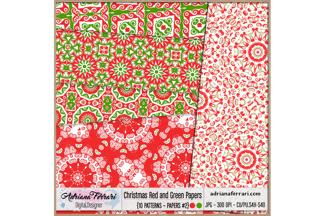 Christmas Red and Green Papers 2 example image 2