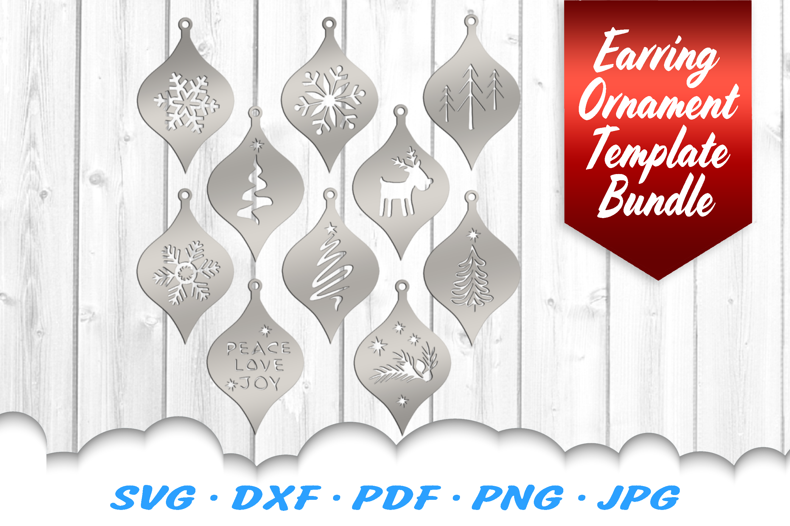 Christmas Ornaments Earrings SVG DXF Cut Files Bundle example image 1
