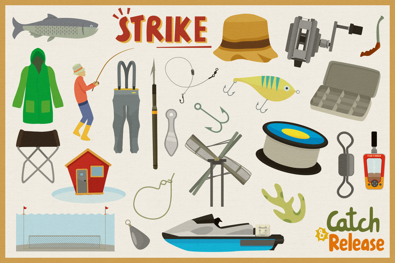 Fishing Time Vector Clipart and Seamless Pattern example image 2
