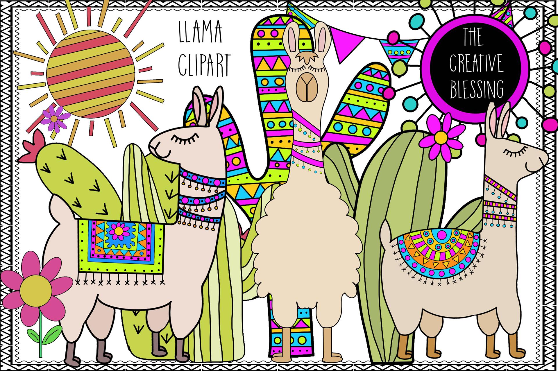 Hand Drawn Llama Clipart example image 1
