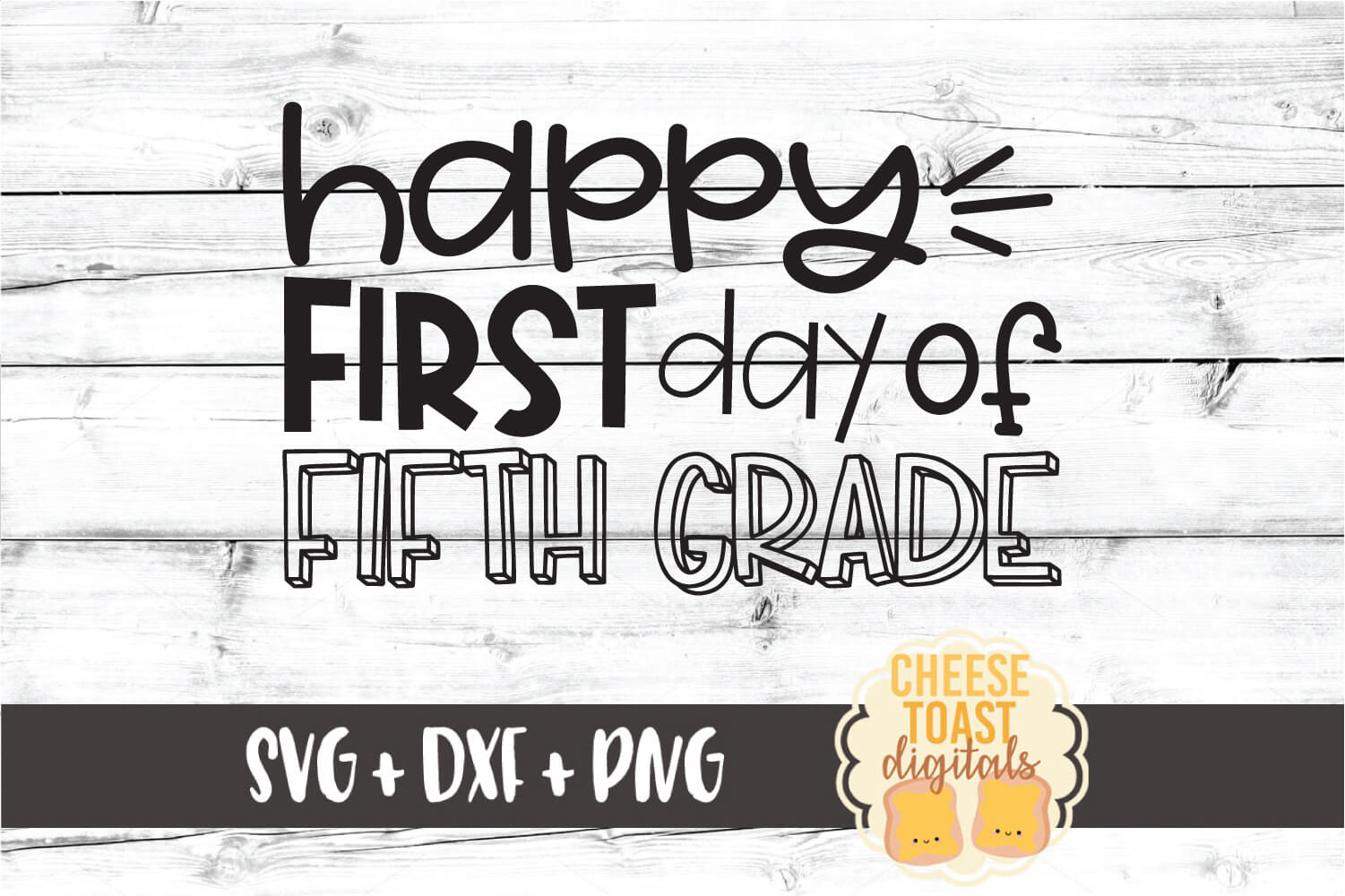 Happy First Day of Fifth Grade - Back to School SVG PNG DXF example image 2