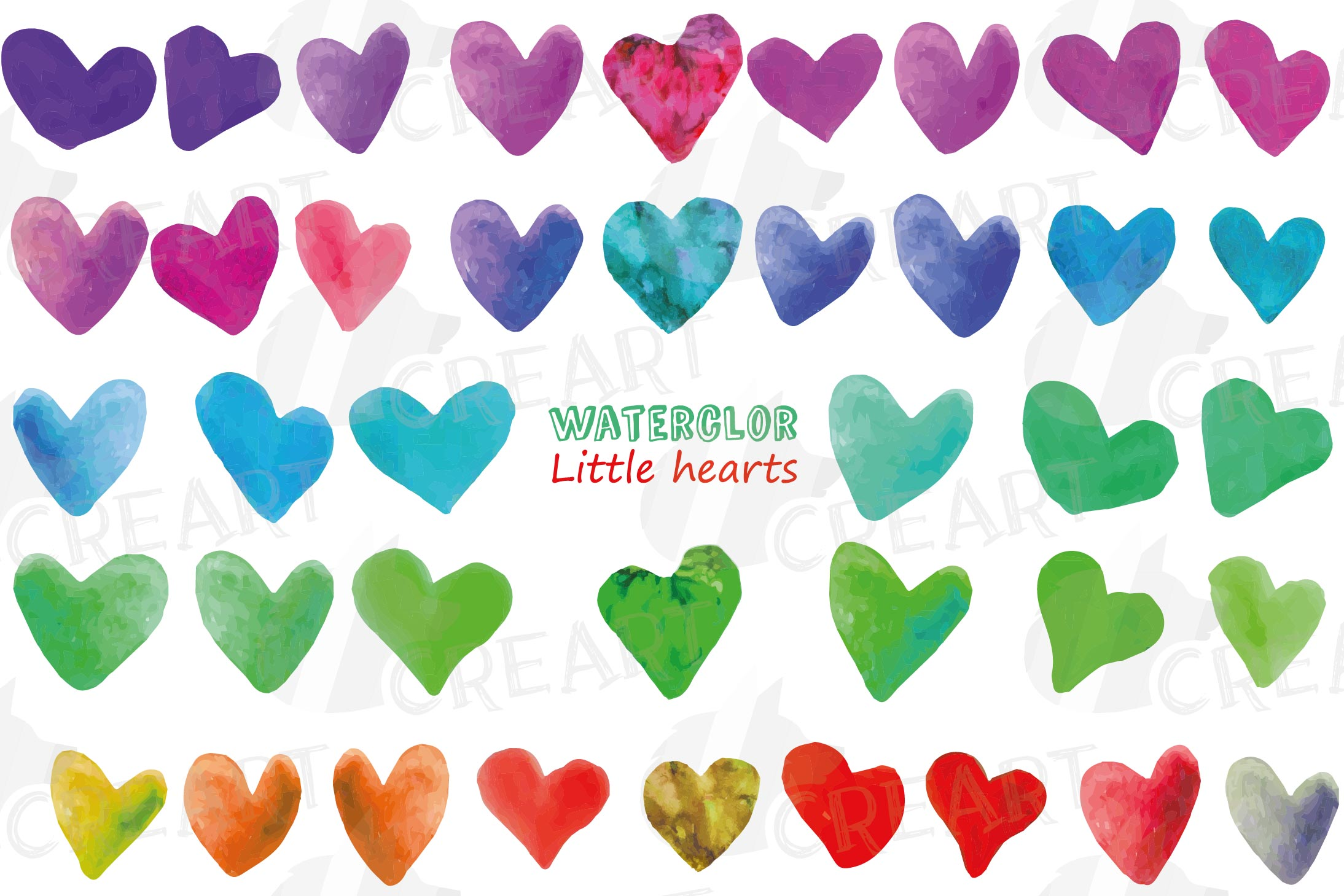 Watercolor little hearts clip art, colorful Valentine example image 2