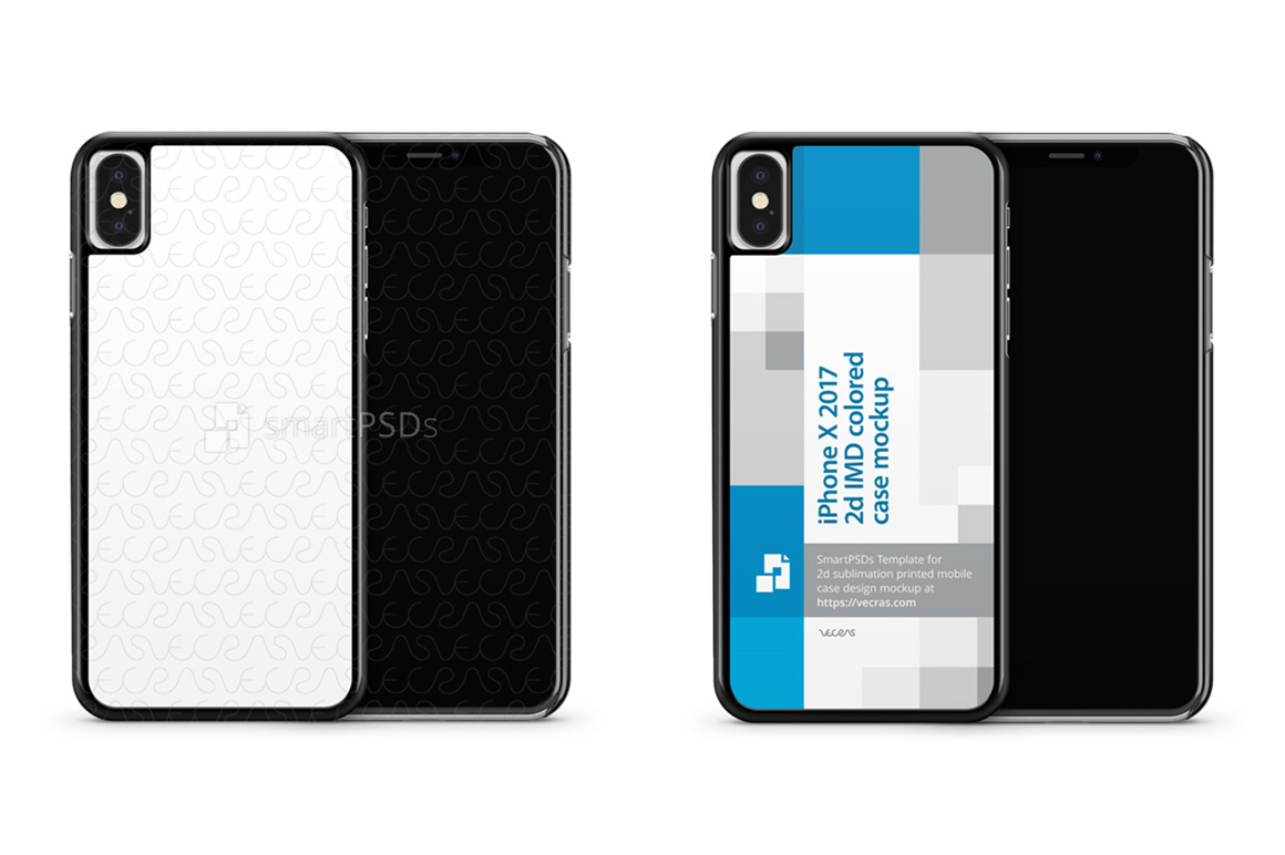 Apple iPhone X 2d IMD Colored Mobile Case Mockup 2017 example image 1