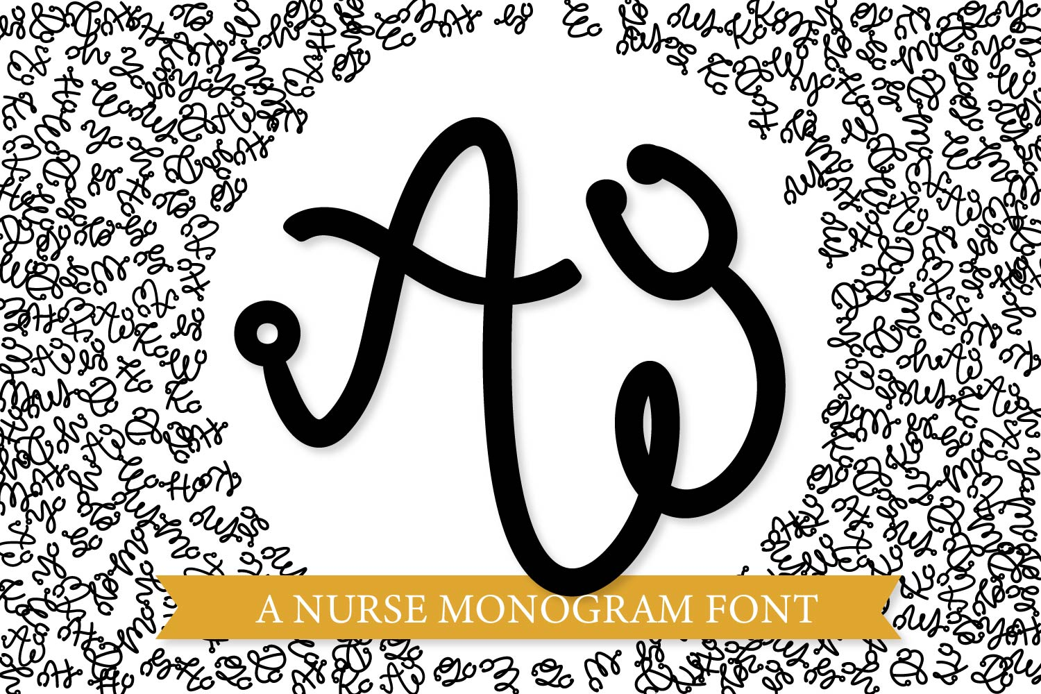 Nurse Monogram Font - A Stethoscope Font Perfect For Gifts! example image 1