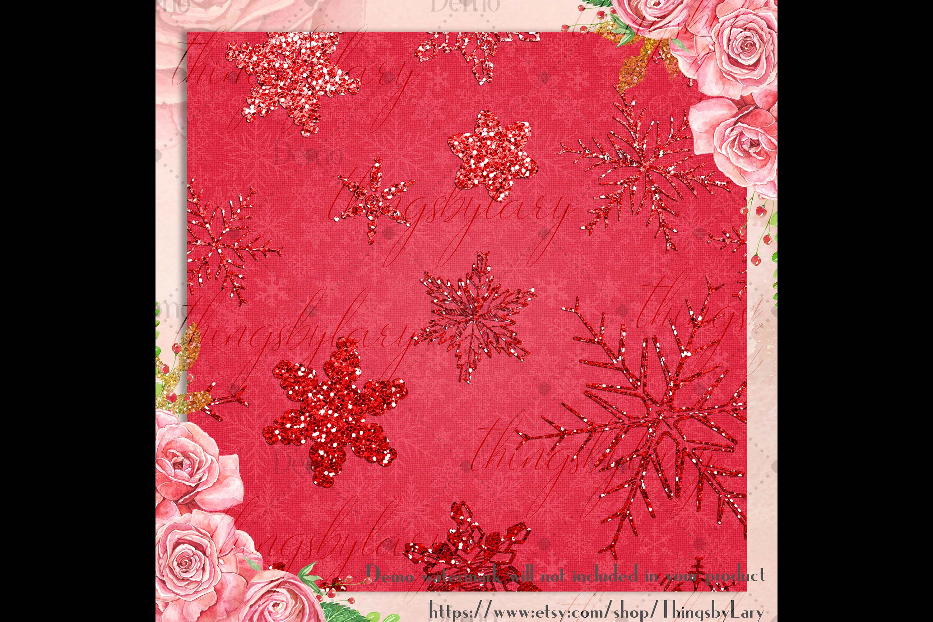 16 Red Glitter Christmas Printable Digital Papers 12 x 12 in example image 4