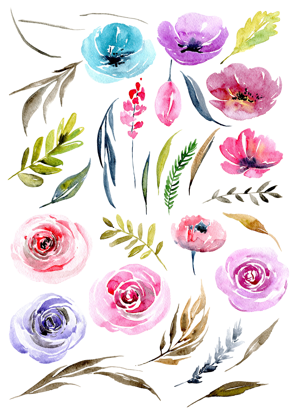 Watercolour floral png elements example image 2