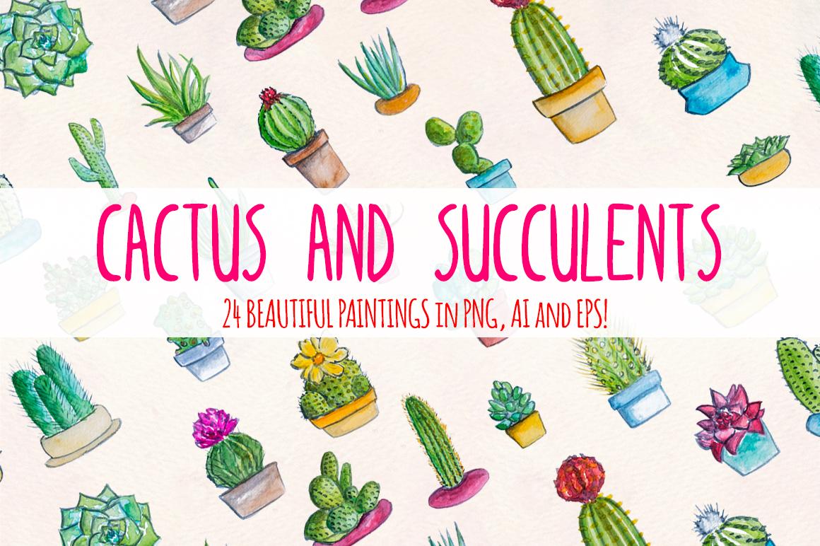 24 Cactus and Succulent Indoor Garden Watercolors example image 1