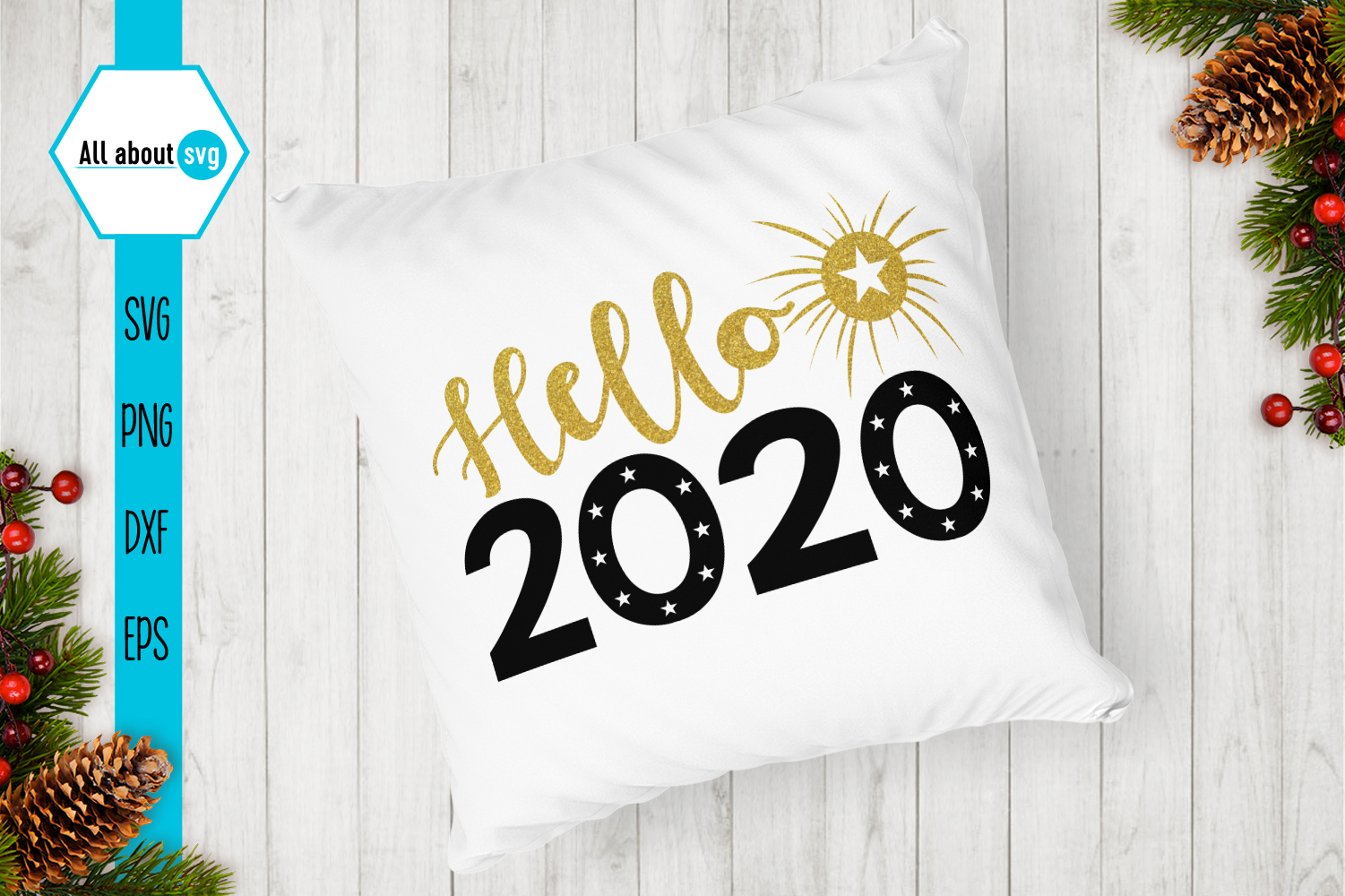 Hello 2020 svg, New Year Glitter Svg example image 3