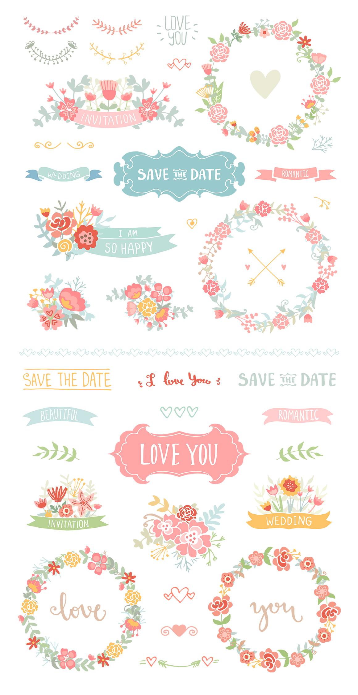 Wedding Floral elements Romantic set example image 2