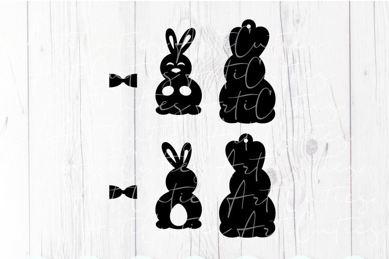 Rabbit earrings template SVG, DIY earrings template example image 2