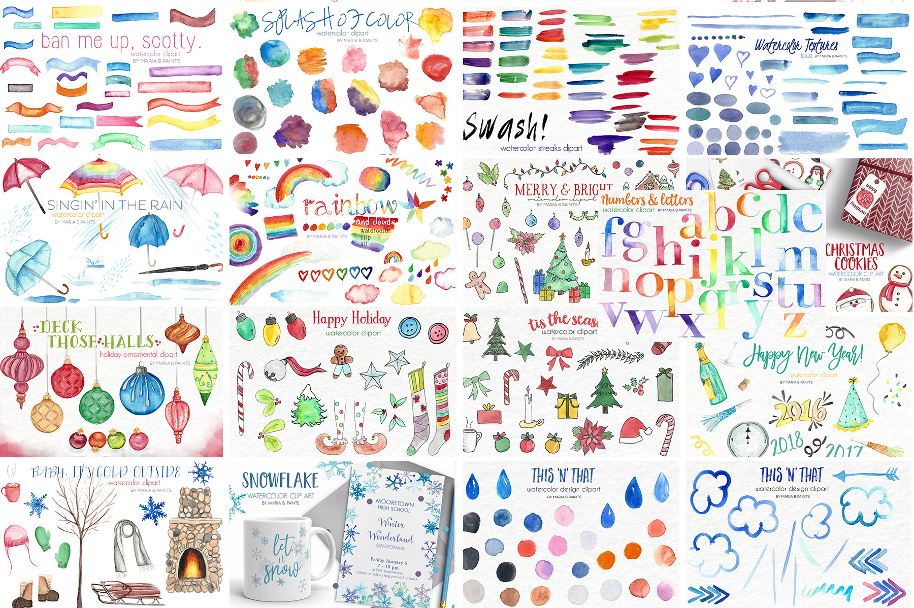 2,600 in 1 Watercolor Clip Art Bundle example image 2