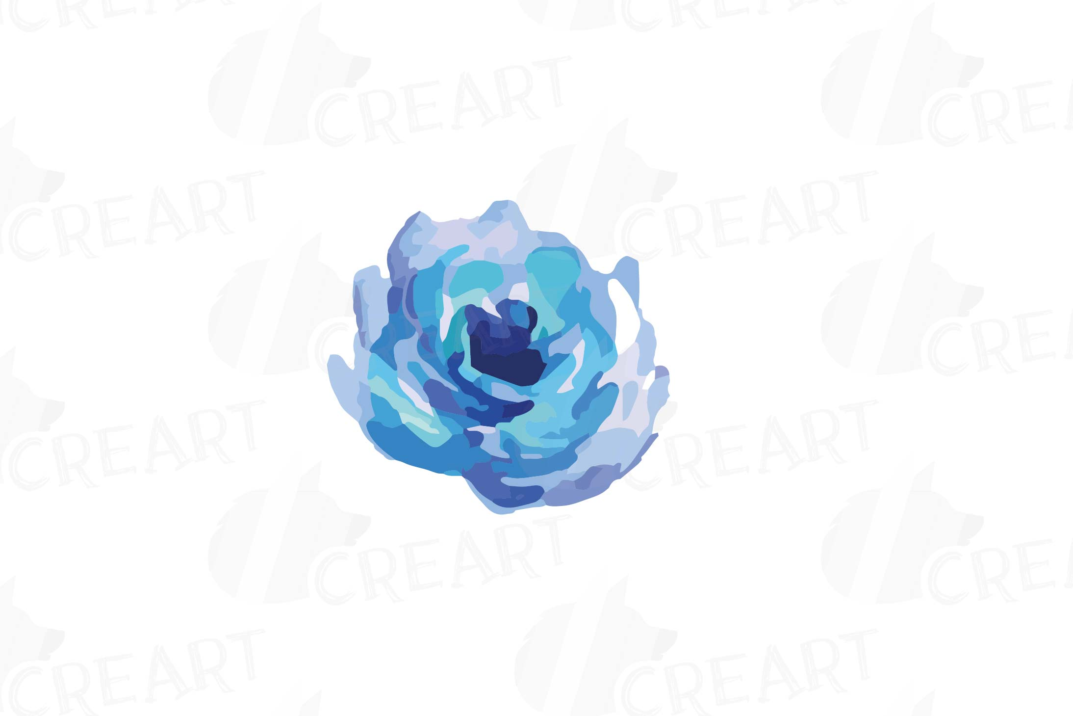 Watercolor Pink and Blue Roses and leafs clip art pack, png example image 9