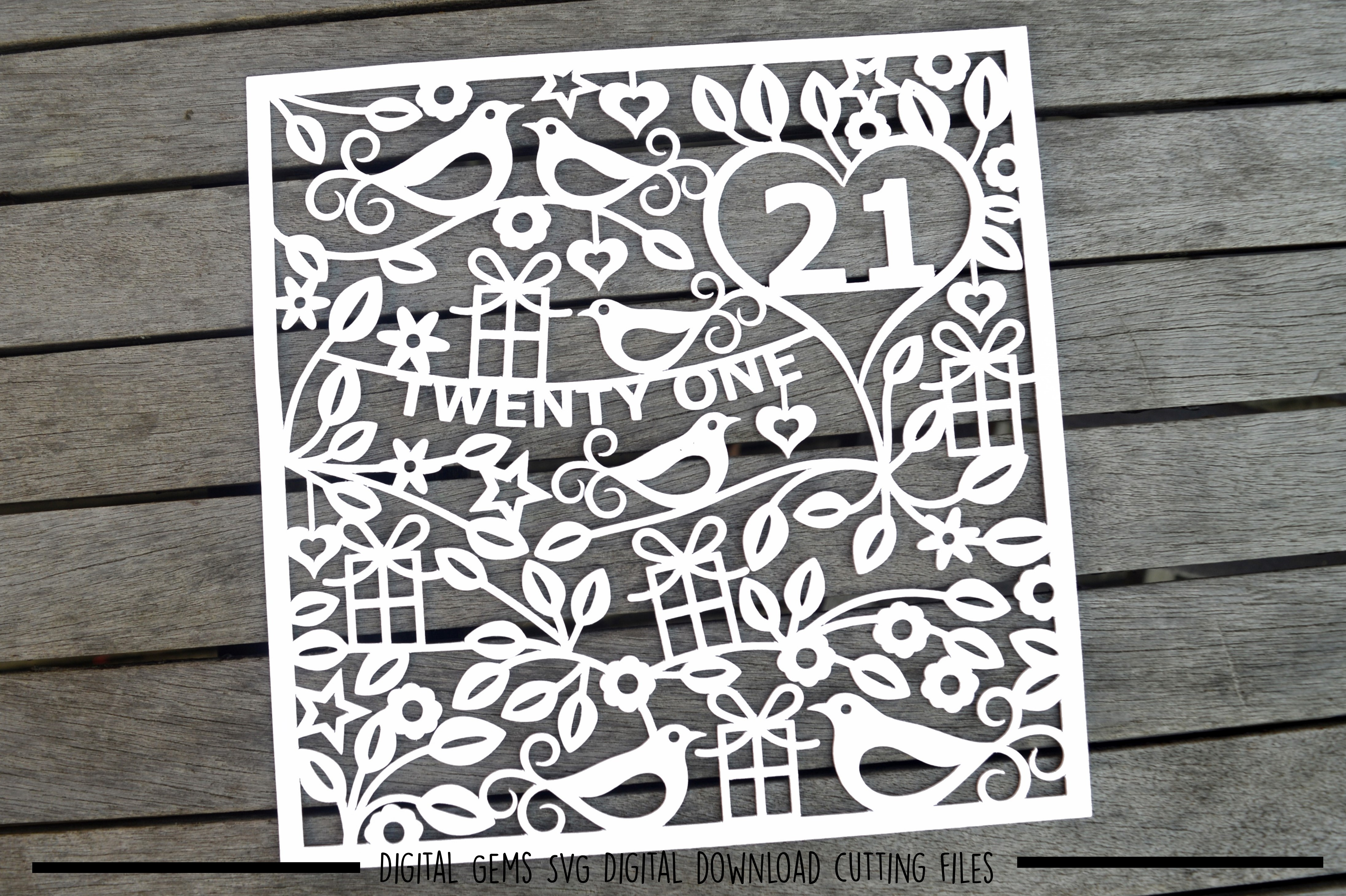 Number 21 paper cut SVG / DXF / EPS files example image 2