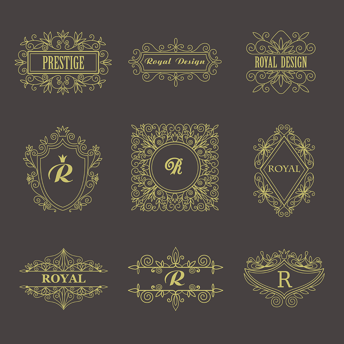 Set of vintage frames and monograms example image 8
