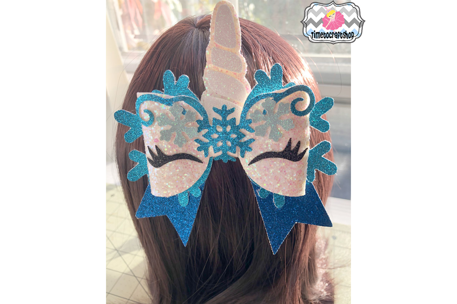 Unicorn Snowflake Hair Bow Template example image 2