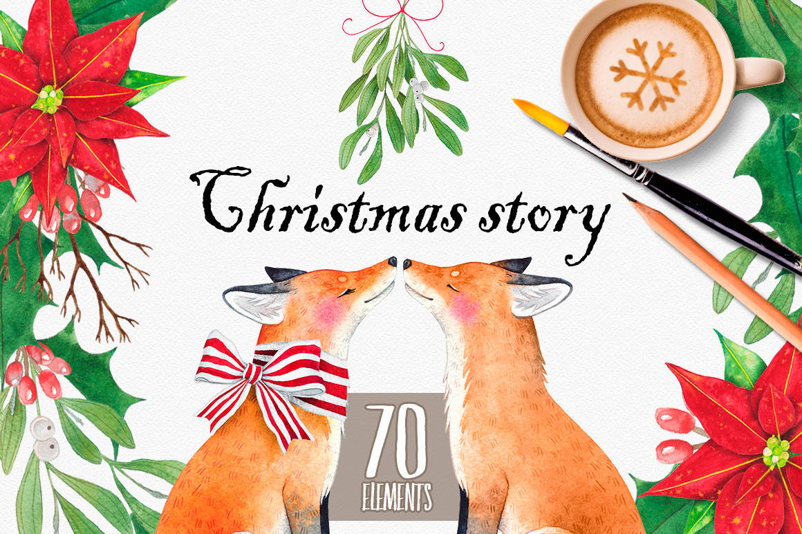 CHRISTMAS STORY watercolor set example image 2