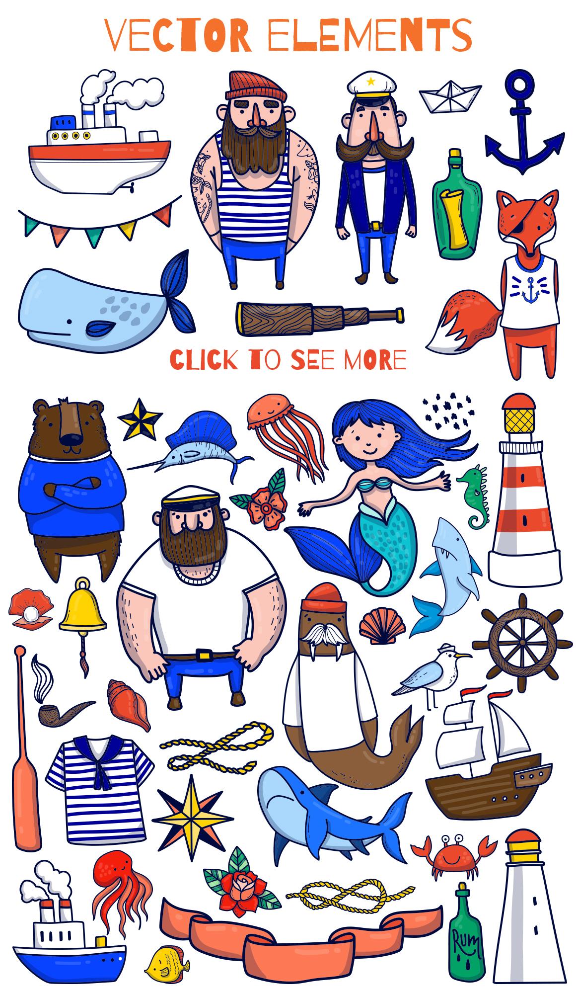 Sailor - nautical vector kit example image 2