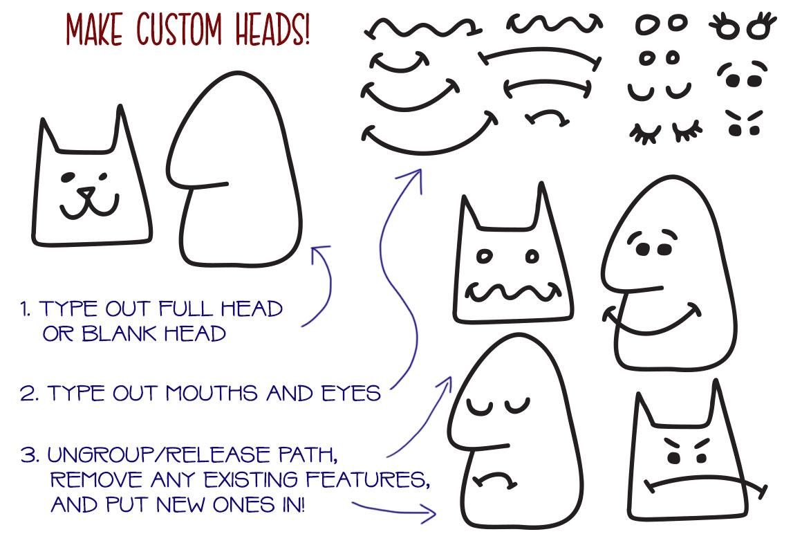 Kookyheads - a dingbat doodle font! example image 3