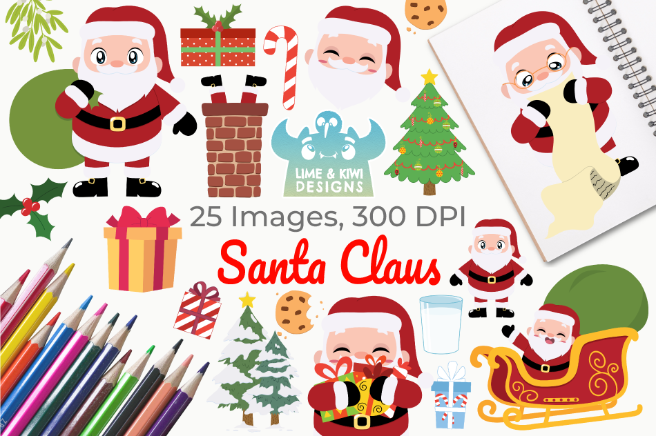 Santa Claus Clipart, Instant Download Vector Art, Commercial example image 1