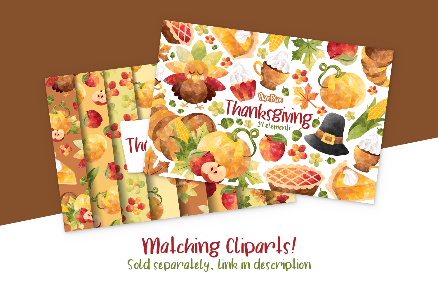 Thanksgiving Digital Papers example image 3