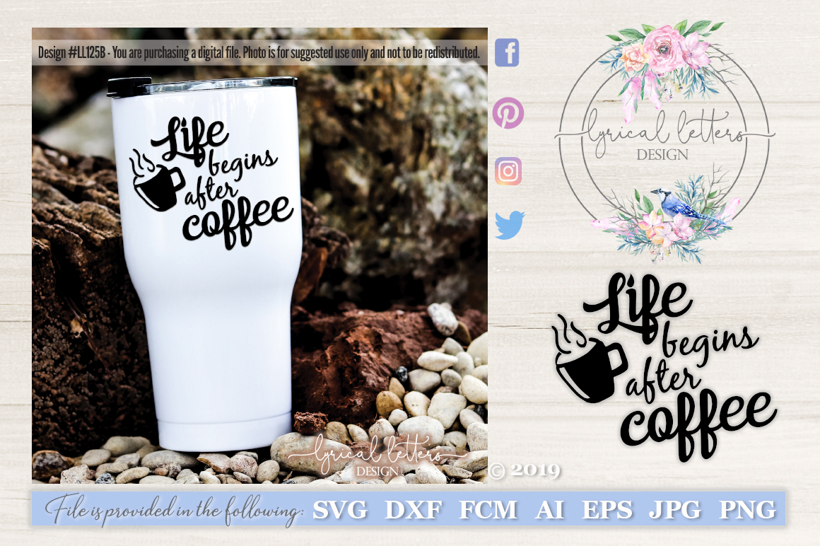 Life Begins After Coffee SVG Cut File LL125B example image 1