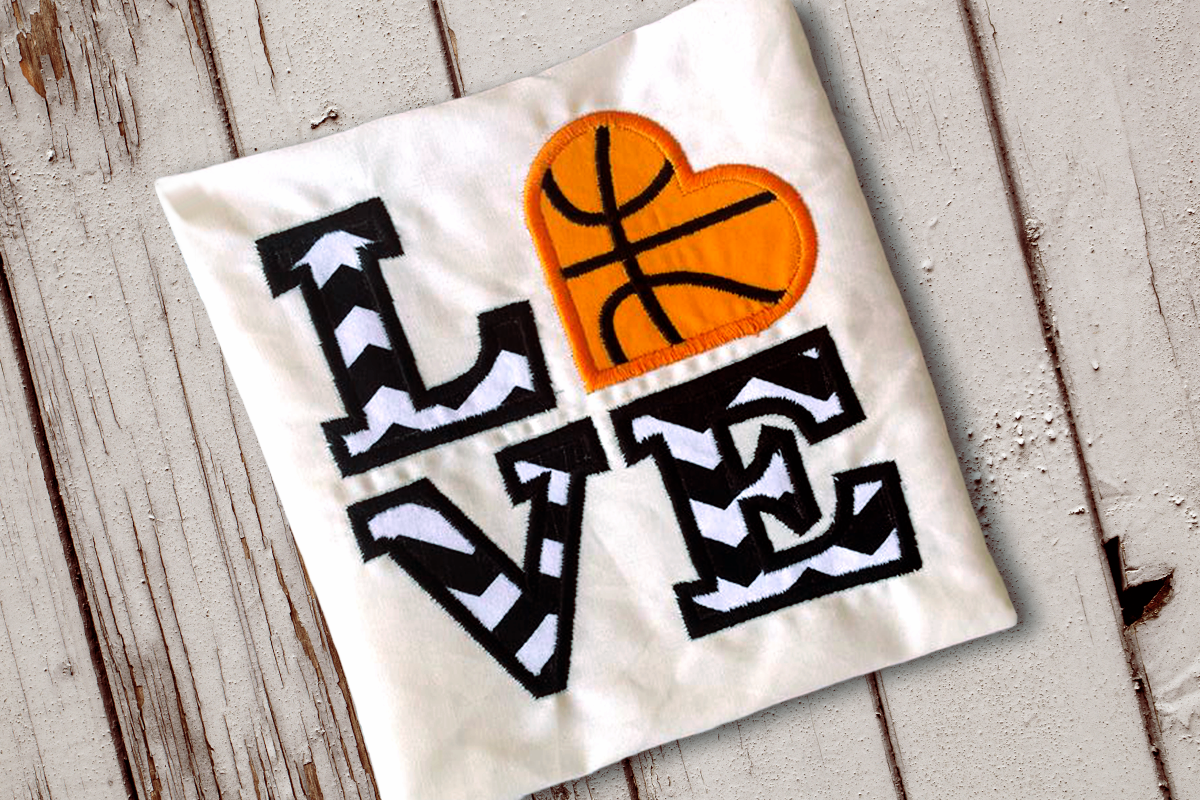 LOVE Basketball Applique Embroidery Design example image 1