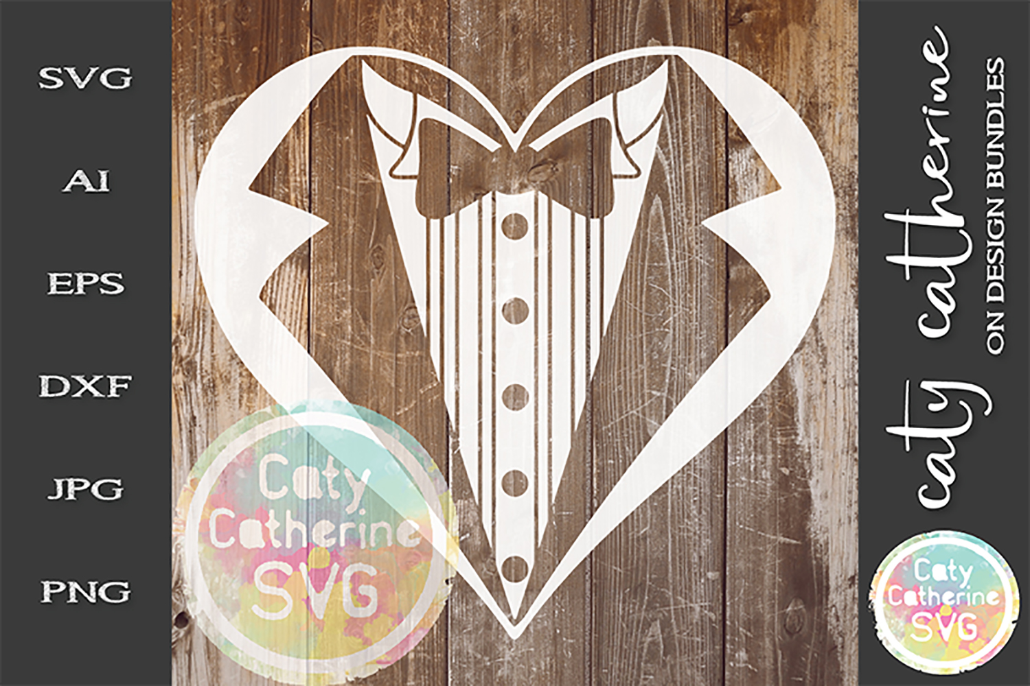 Wedding Groom Mr Tuxedo Heart SVG Cut File example image 1