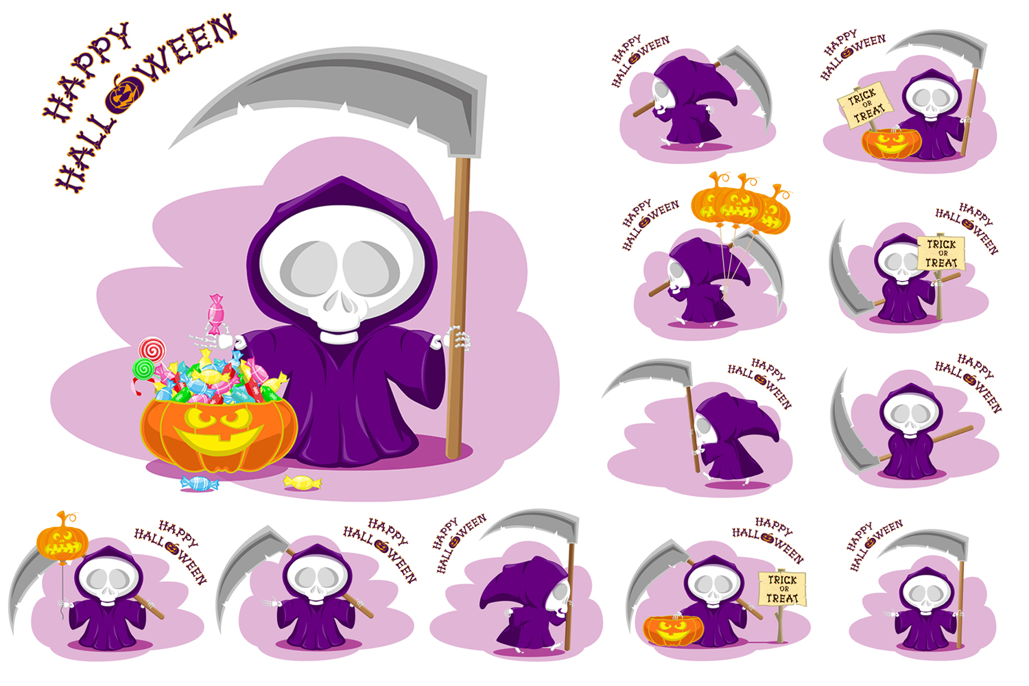 Set of 12 figure funny little death with large scythe and halloween pumpkin. Vector illustration example image 1