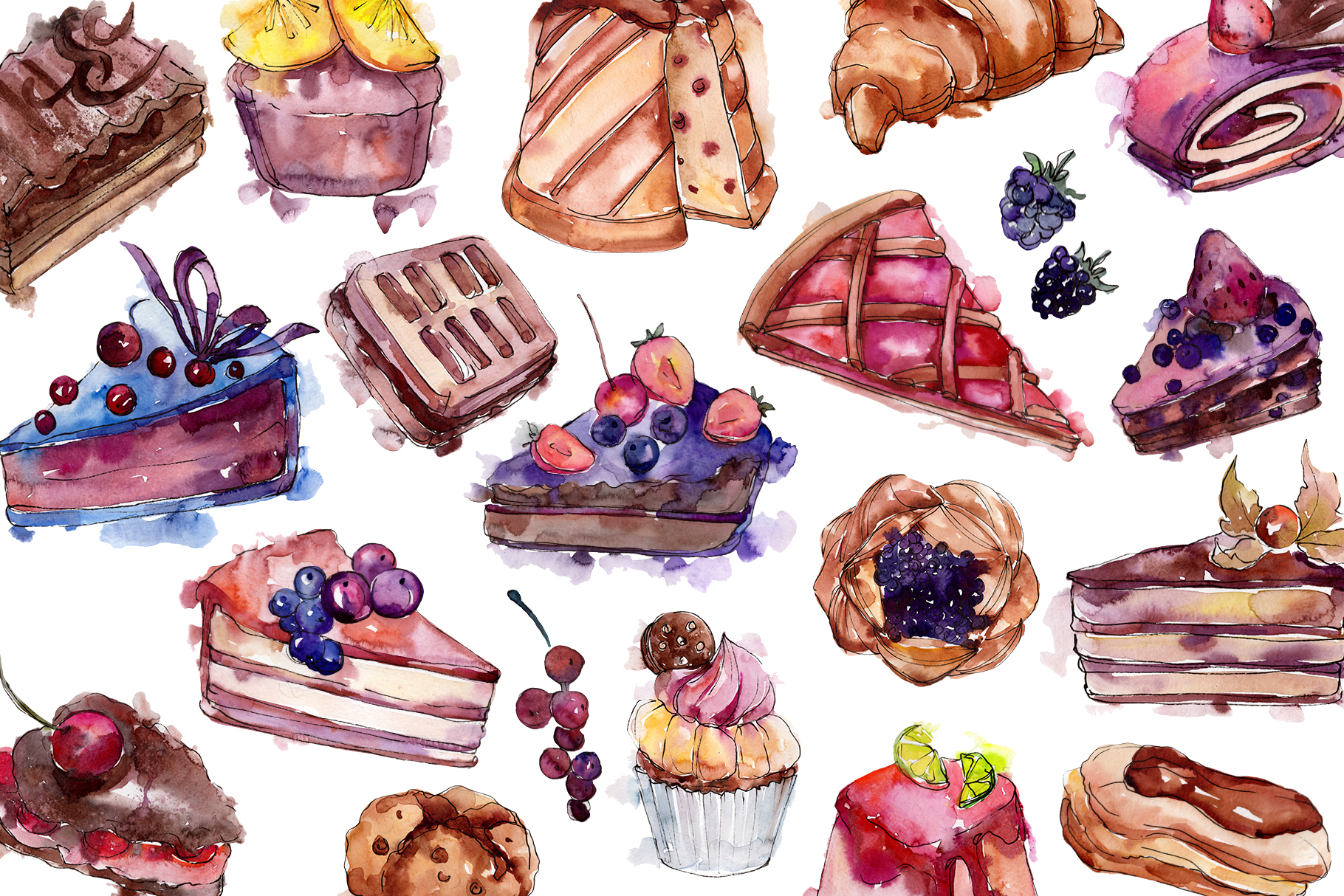Cake sweet happiness watercolor png example image 2