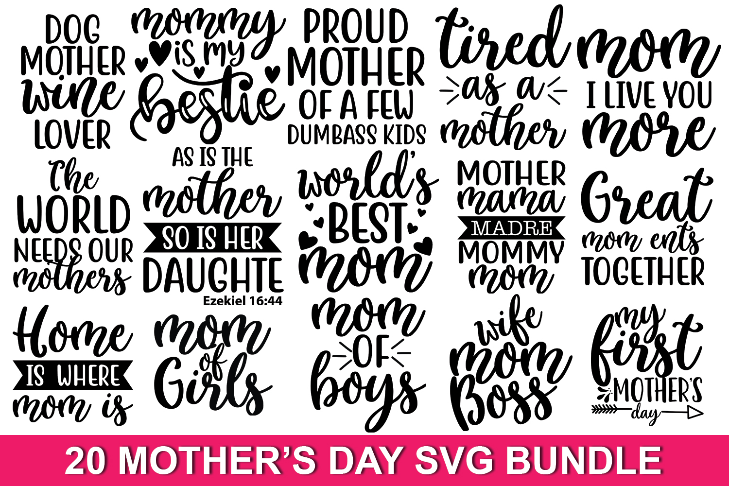 20 Mother's day Quotes SVG Bundle Vol_0.3 example image 1
