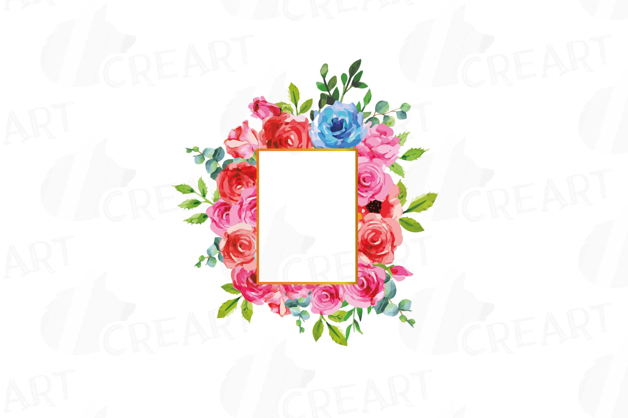 Boho pink and blue floral frames watercolor clip art pack example image 9