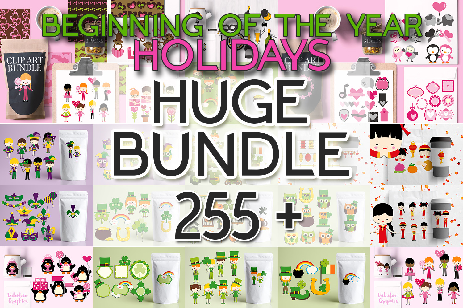 Beginning of the year holidays bundle, huge clip art example image 1