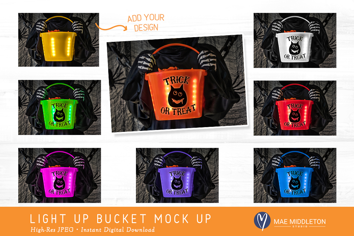 Light up Halloween Buckets - styled photo, mock ups example image 2