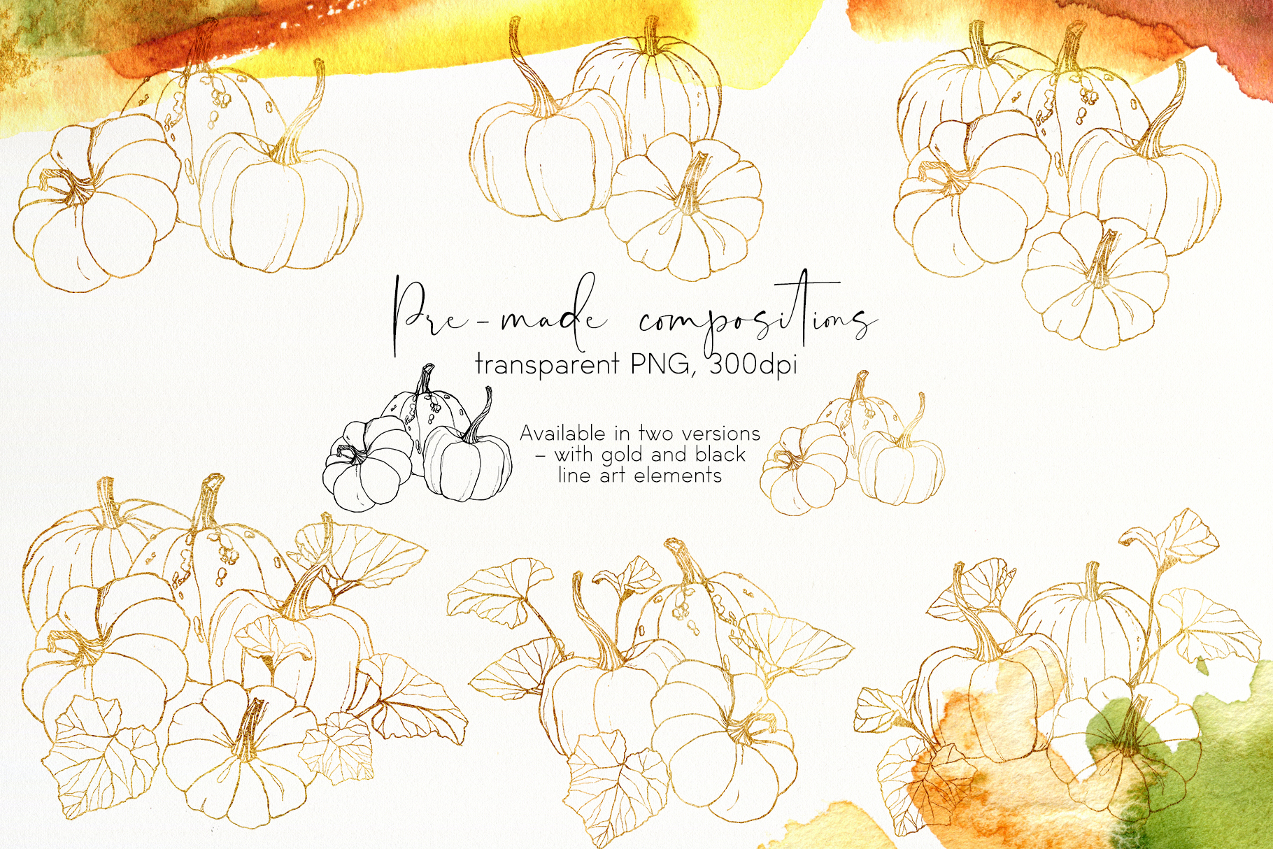 Pumpkins. Watercolor collection example image 7