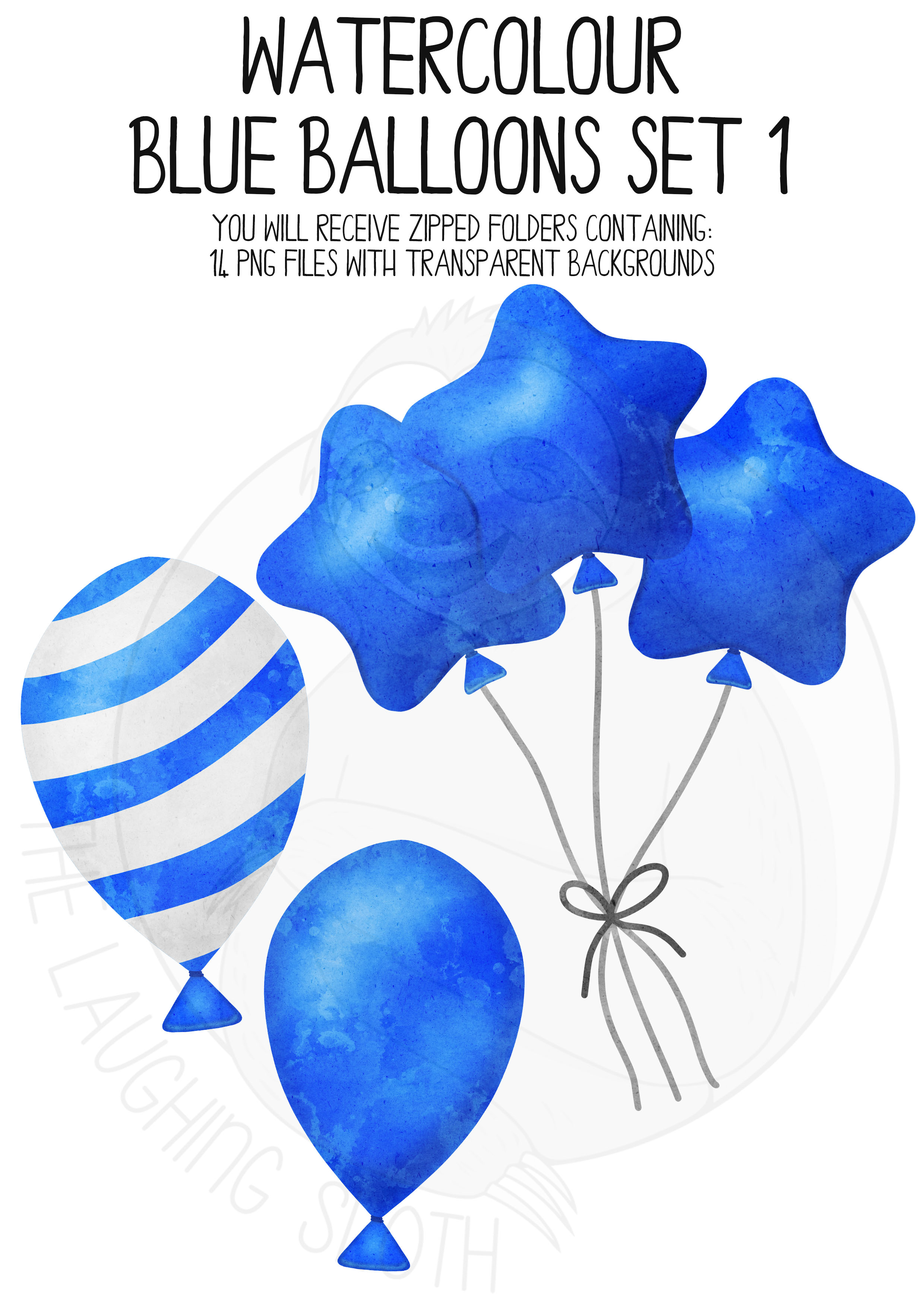 Blue Watercolor Balloon Clipart Set example image 4