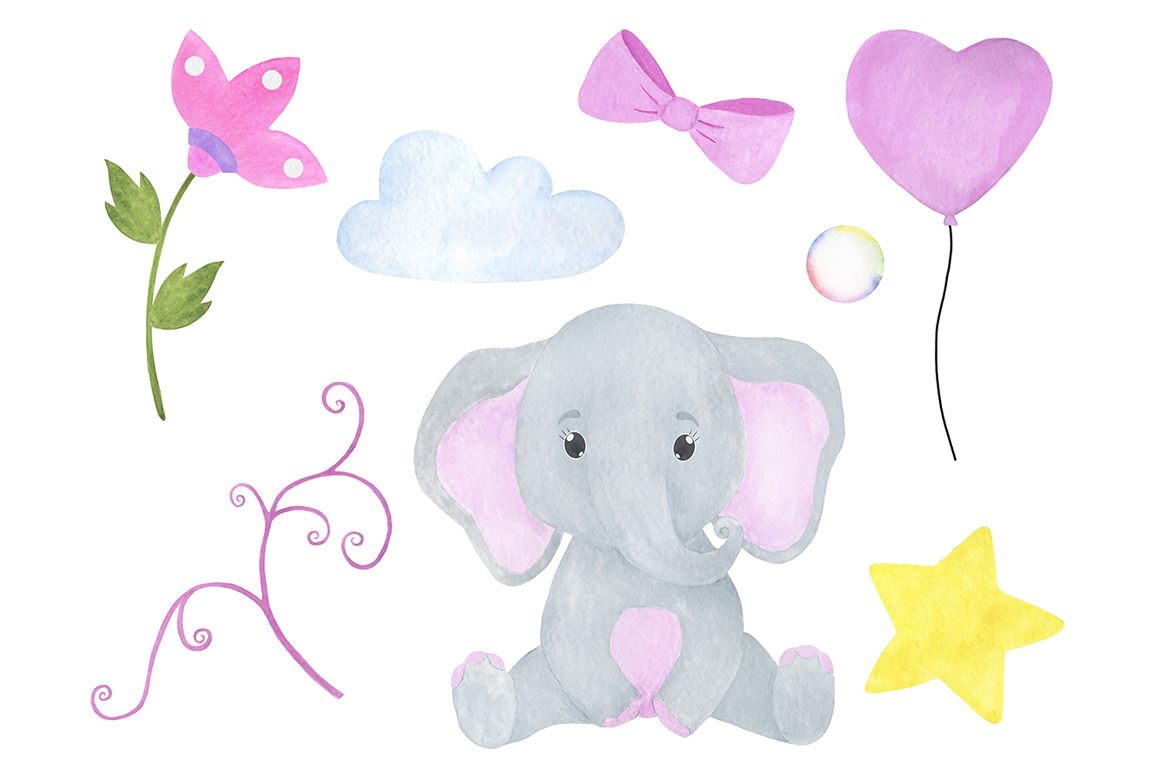 Set of illustrations of a cute little watercolor elephant example image 2