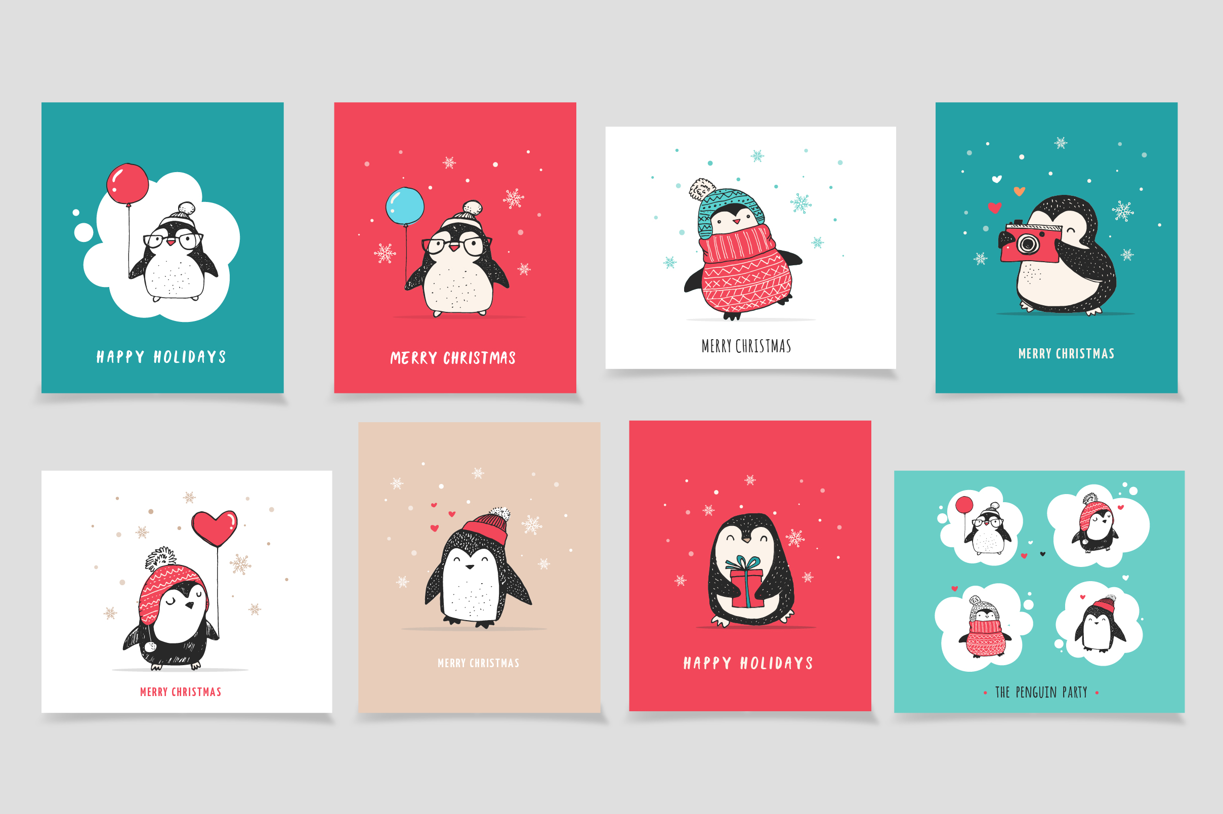 Cute penguin icons, Christmas cards