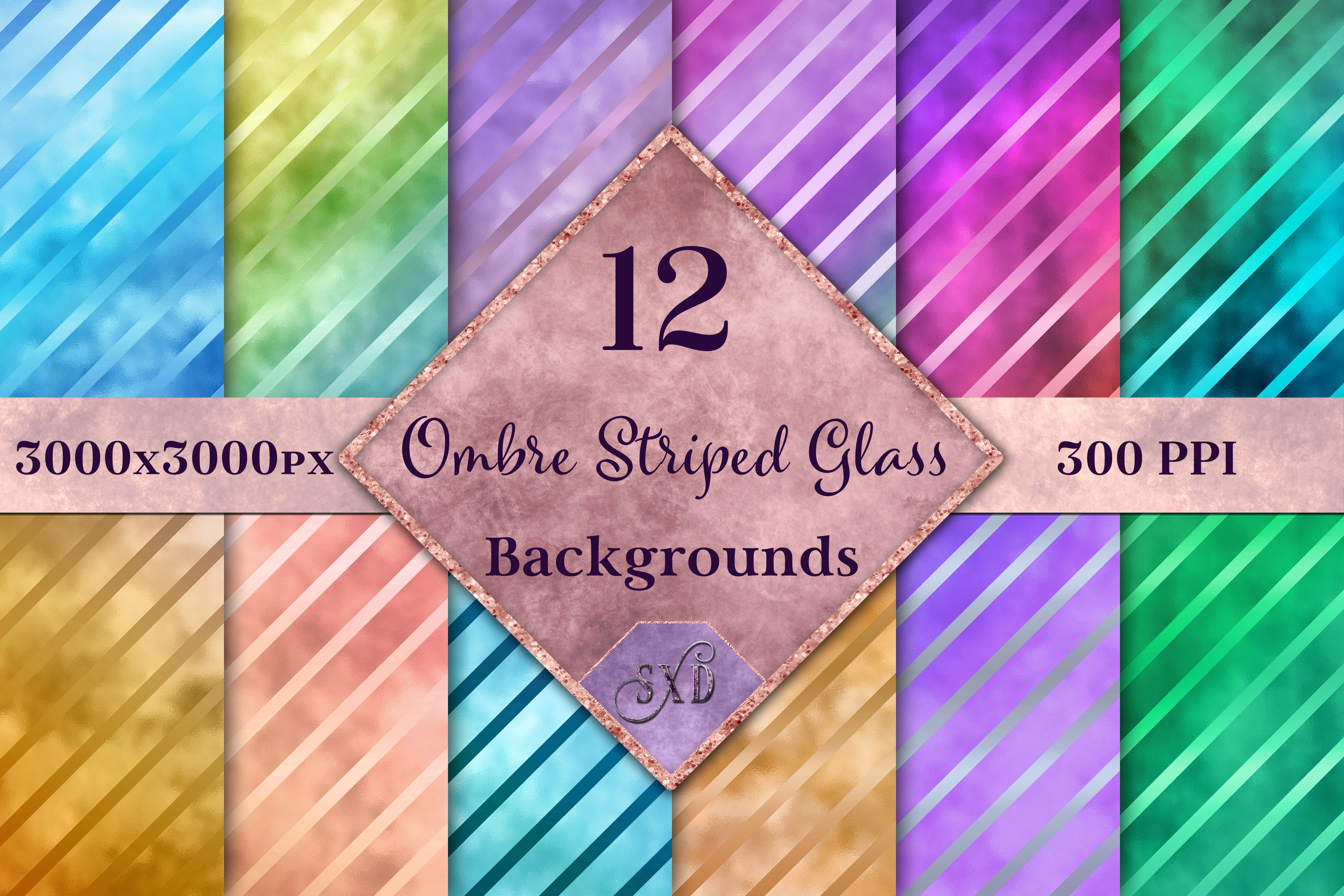 Ombre Striped Glass Backgrounds - 12 Image Textures Set example image 1