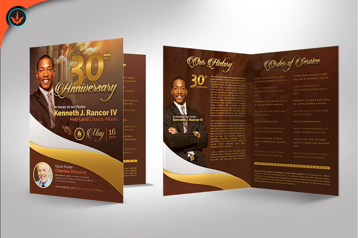Gold Pastor's Anniversary Program Photoshop, Word, Publisher example image 3