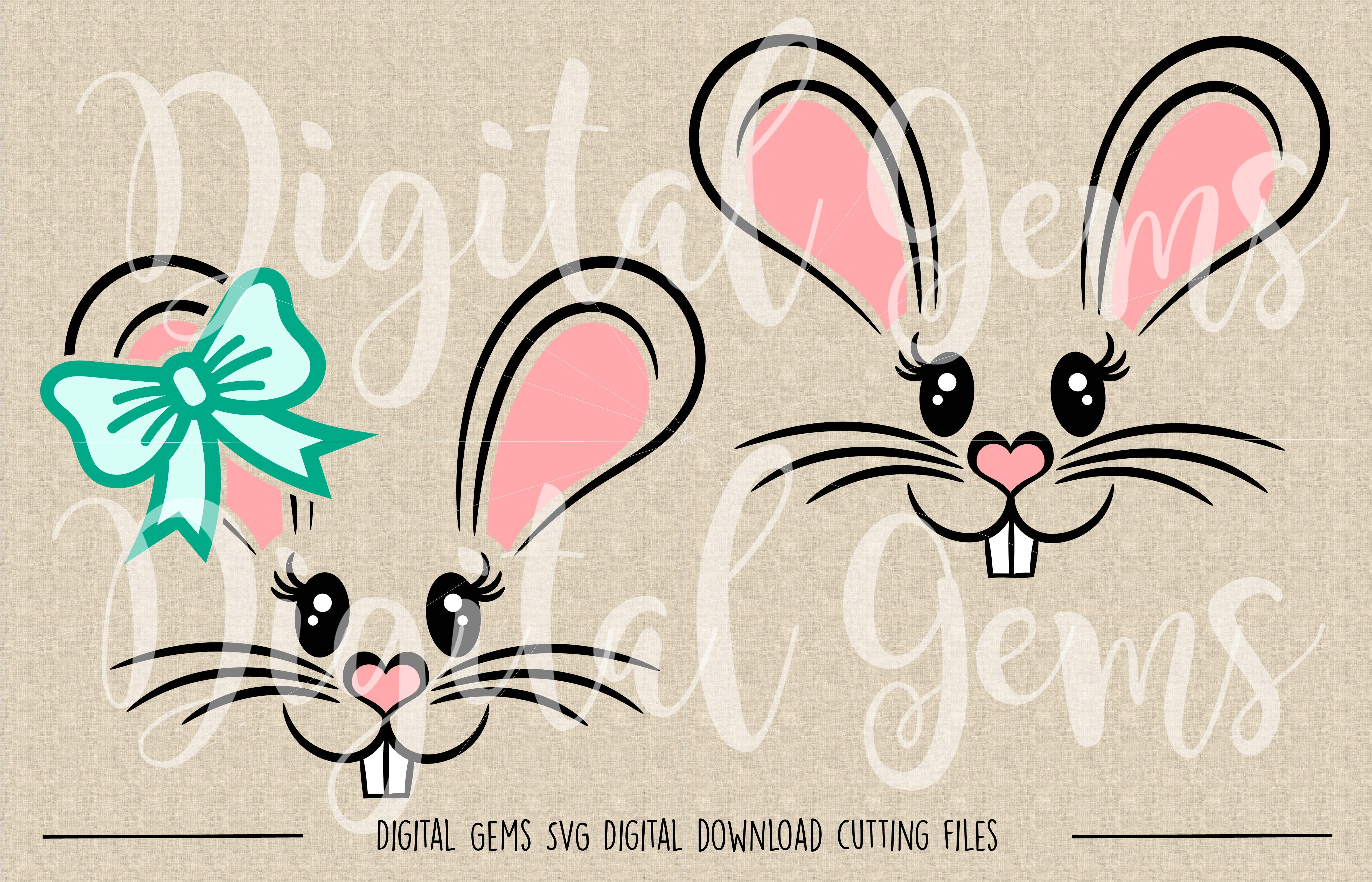Rabbit Faces SVG / PNG / EPS / DXF Files example image 2