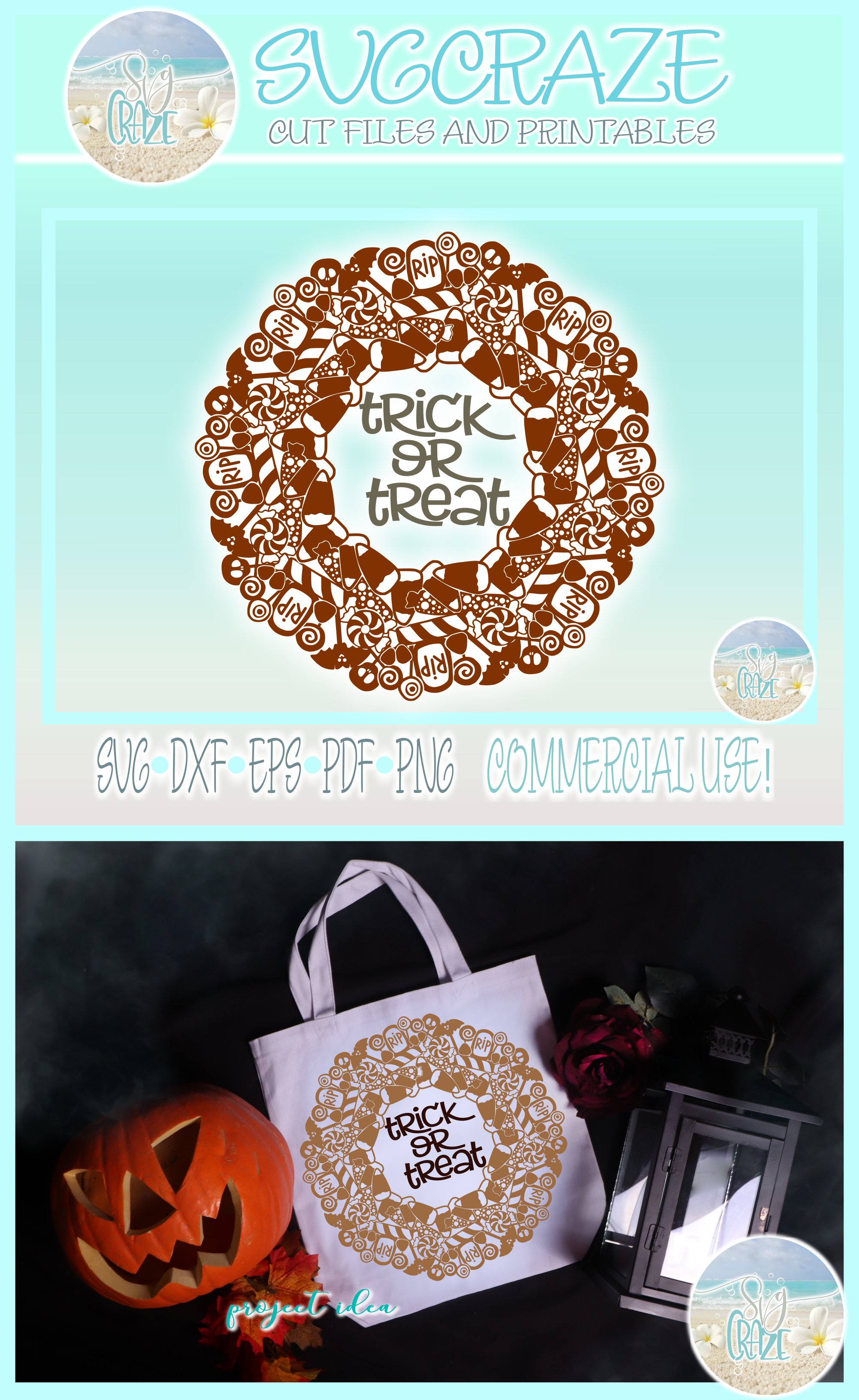 Trick or Treat Halloween Candy Mandala Zentangle SVG example image 4