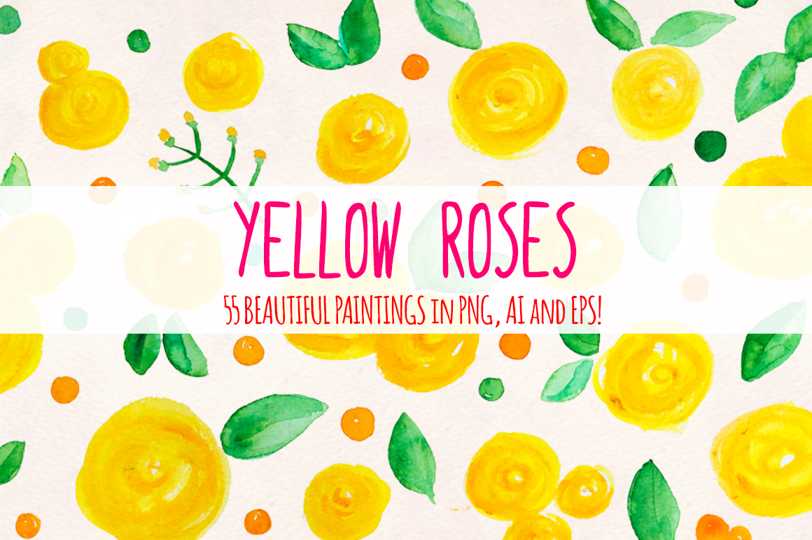 55 Bright Yellow Watercolour Roses, Leaves and Spots example image 2
