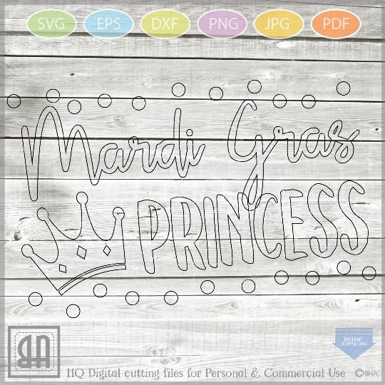 Mardi Gras princess SVG - Girls Mardi gras Cut File - Mardi example image 3