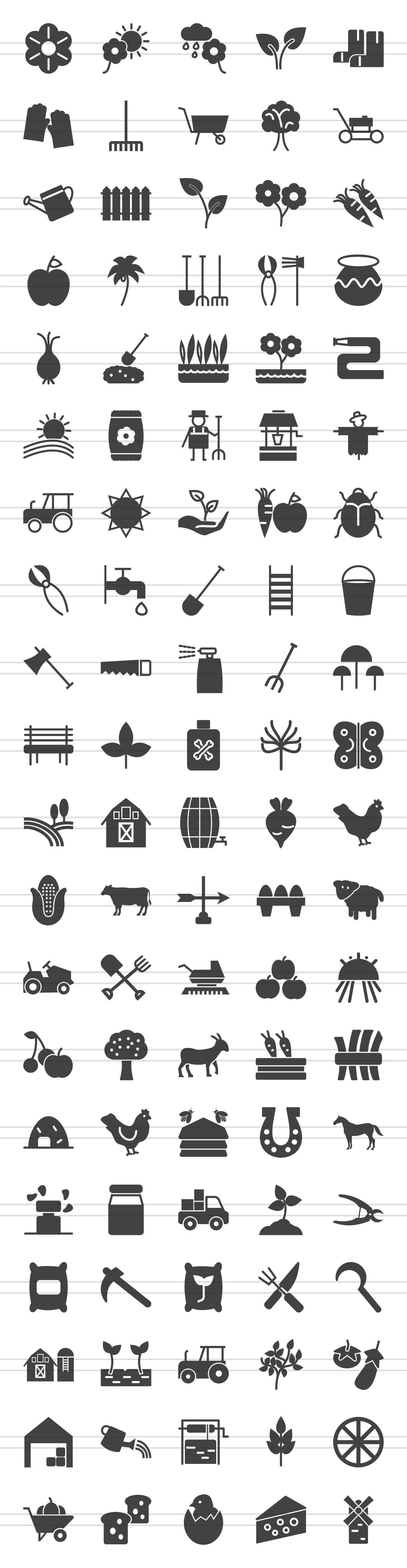 100 Farm & Gardening Glyph Icons example image 2