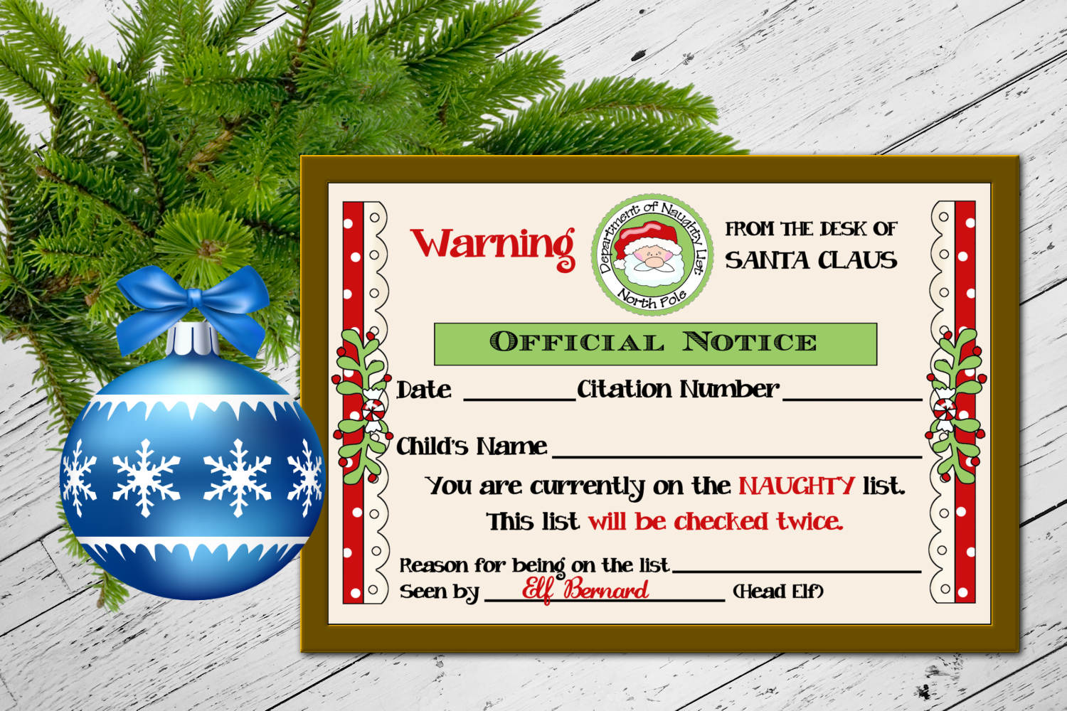Santa's Naughty List Certificate 4 x 6 inches example image 2