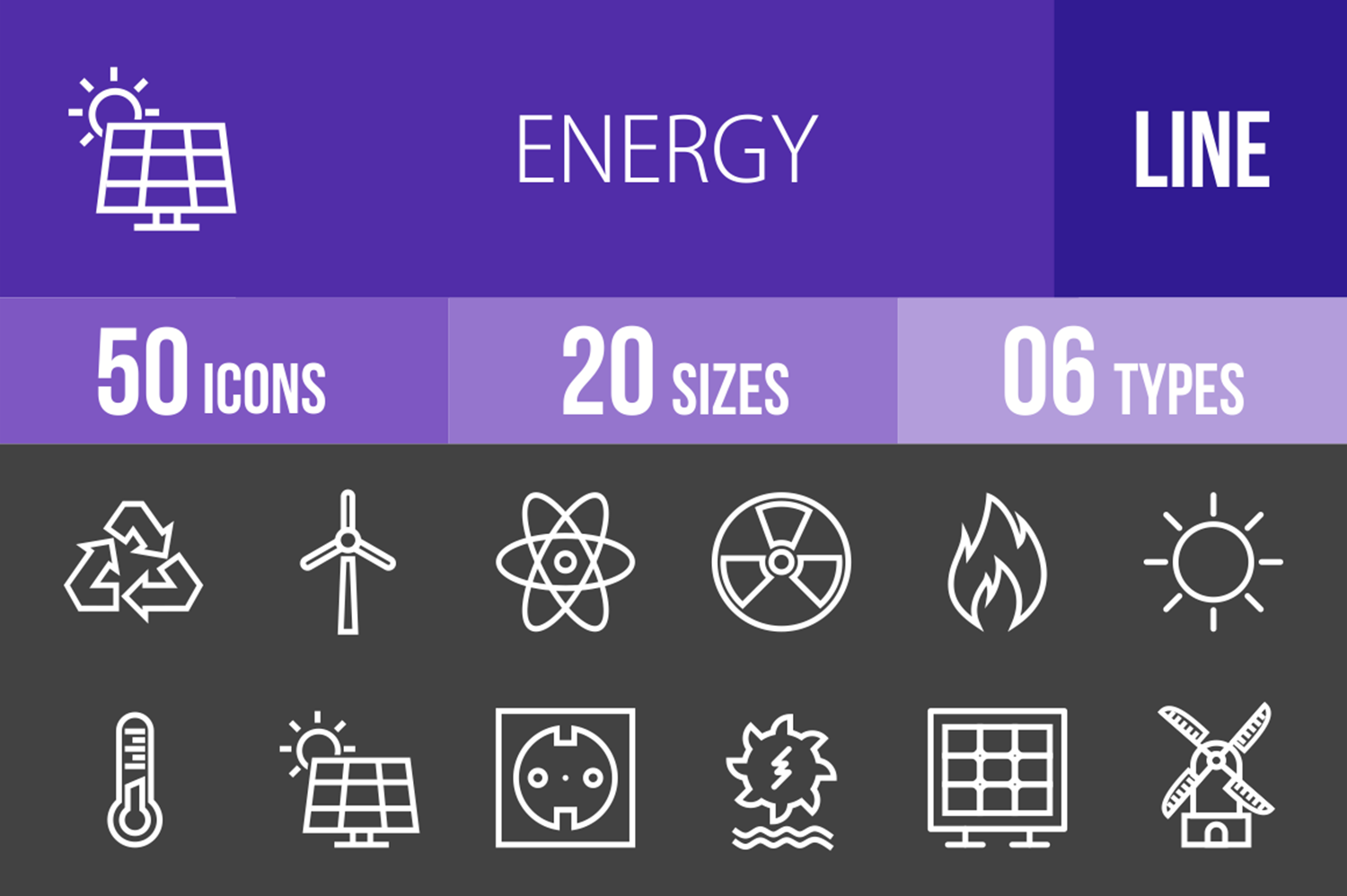 50 Energy Line Inverted Icons example image 1